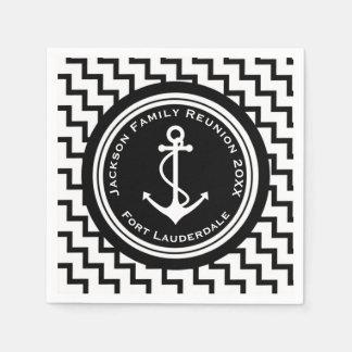 Nautical Theme Anchor Family Reunion Custom Text Standard Cocktail Napkin