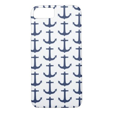 Nautical Theme Anchor Navy iPhone Case
