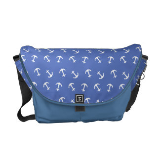 Nautical Theme Anchor Pattern on a Teal Color Messenger Bag