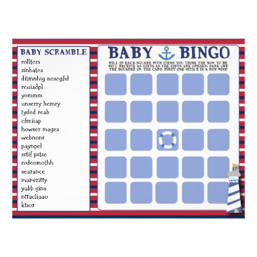 Beach Themed Nautical Theme Baby Shower Games Baby Bingo 2 in 1 Flyer