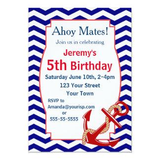 Nautical Theme Birthday Party 5x7 Paper Invitation Card