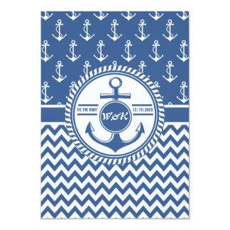 Nautical Theme Boat Wedding Anchor Chevron Card