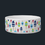 """Nautical Theme Buoy and lobster monogrammed Bowl<br><div class=""""desc"""">Nautical blue, white and green buoys and red lobsters create a cute, fun, colorful pattern for your beach house, cottage or camp - also great for nautical themed gifts. Personalize this coastal design with your family monogram or initials. A perfect pattern for a summer house by the coast or your...</div>"""