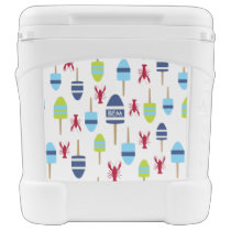 Nautical Theme Buoy and lobster monogrammed Cooler
