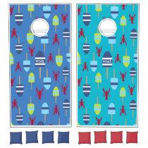Nautical Theme Buoy and lobster monogrammed Cornhole Set