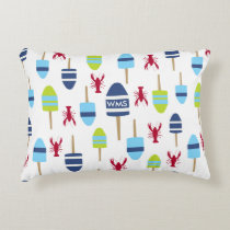 Nautical Theme Buoy and lobster monogrammed Decorative Pillow