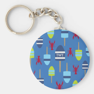 Nautical Theme Buoy and lobster monogrammed Keychain