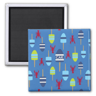 Nautical Theme Buoy and lobster monogrammed 2 Inch Square Magnet