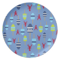 Nautical Theme Buoy and lobster monogrammed Melamine Plate