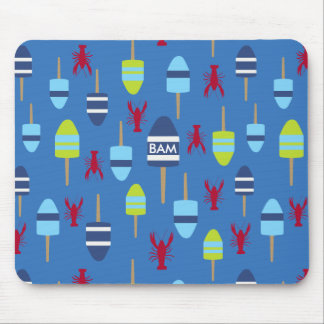 Nautical Theme Buoy and lobster monogrammed Mouse Pad