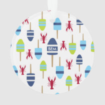 Nautical Theme Buoy and lobster monogrammed Ornament