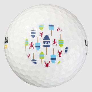 Nautical Theme Buoy and lobster monogrammed Pack Of Golf Balls