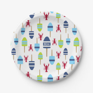 Nautical Theme Buoy and lobster monogrammed Paper Plate  sc 1 st  Zazzle & Lobster Buoys Plates | Zazzle