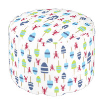Nautical Theme Buoy and lobster monogrammed Pouf