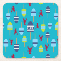 Nautical Theme Buoy and lobster monogrammed Square Paper Coaster
