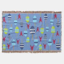 Nautical Theme Buoy and lobster monogrammed Throw Blanket