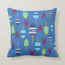 Nautical Theme Buoy and lobster monogrammed Throw Pillow