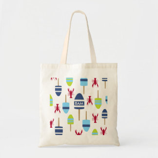 Nautical Theme Buoy and lobster monogrammed Tote Bag