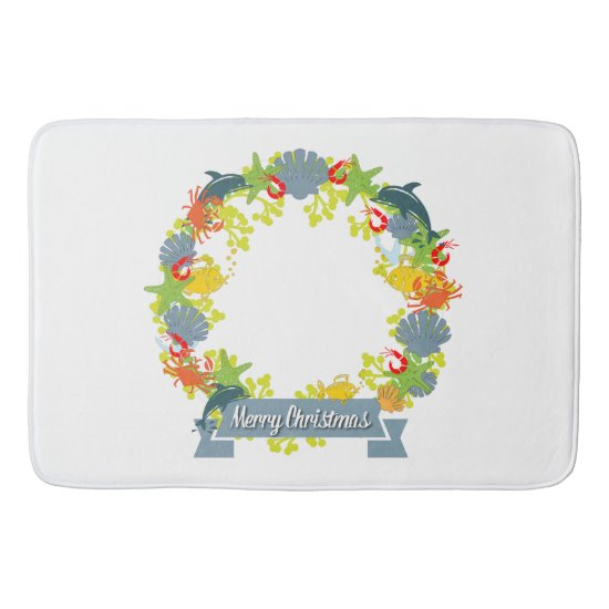 Nautical Theme Christmas Wreath Bathmat - Coastal