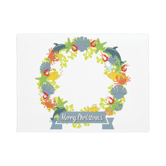 Nautical Theme Christmas Wreath Doormat - Coastal