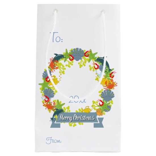 Nautical Theme Christmas Wreath Gift Bag