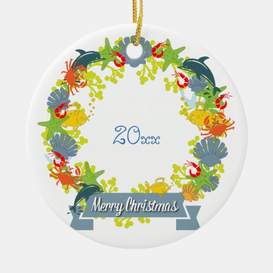 Nautical Theme Christmas Wreath Ornament - Coastal