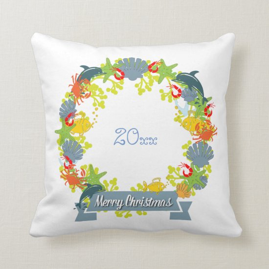 Nautical Theme Christmas Wreath Pillow - Coastal