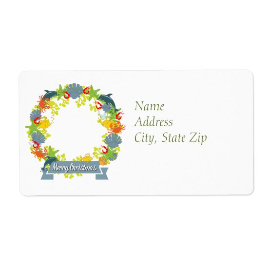 Nautical Theme Christmas Wreath Return Address Label