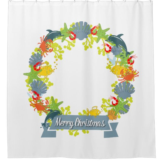 Nautical Theme Christmas Wreath Shower Curtain