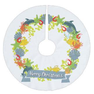 Nautical Theme Christmas Wreath Tree Skirt
