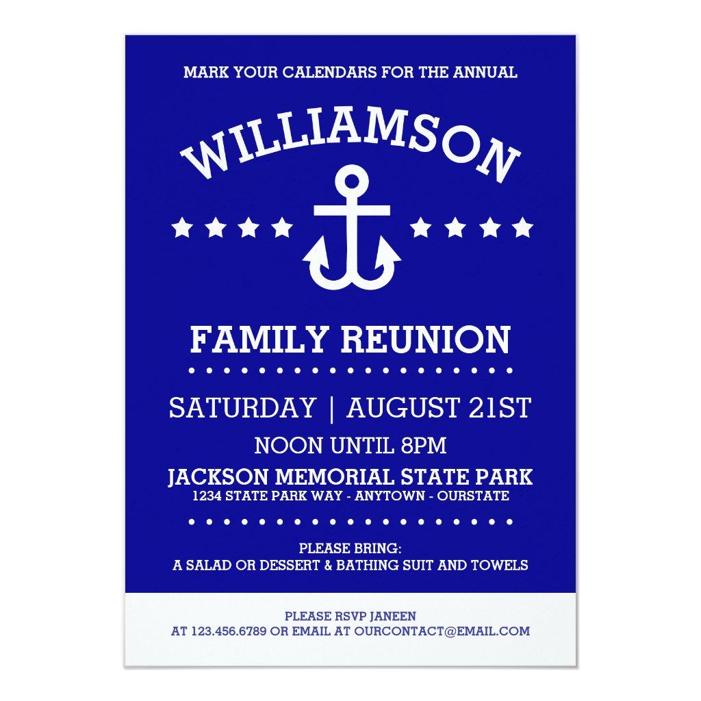 Nautical Theme Family Reunion Invitations