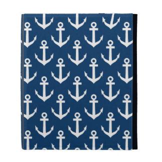 Nautical theme iPad case | Navy anchor pattern