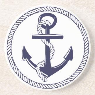 Nautical Theme Navy Blue Anchor Rope Circle Coaster