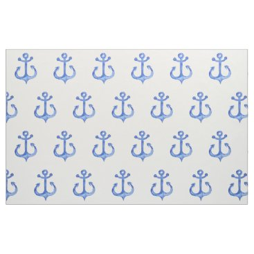 Beach Themed Nautical Theme | Navy Blue Anchors Wrapping Paper Fabric