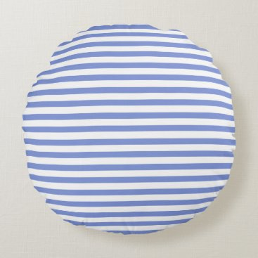 Beach Themed Nautical Theme - Navy Blue Striped Round Pillow