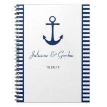 Nautical Theme Navy Blue White Stripes Guest Book