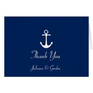 Nautical Theme Navy Blue White Stripes Thank You Card