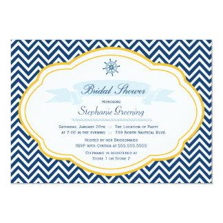 Nautical theme navy gold bridal shower invitation