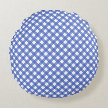 Beach Themed Nautical Theme - Navy Plaid Pattern Round Pillow