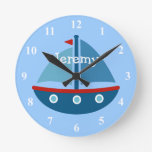 Nautical theme sail boat wall clock for kids room