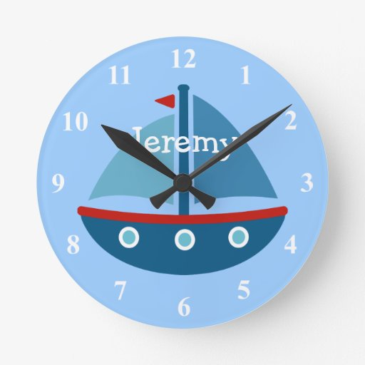 Nautical theme sail boat wall clock for kids room zazzle for Kids room clock