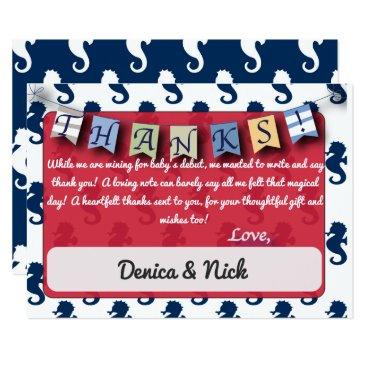 muddymomdesigns Nautical Theme Sea Horses Customizable Thank You! Card