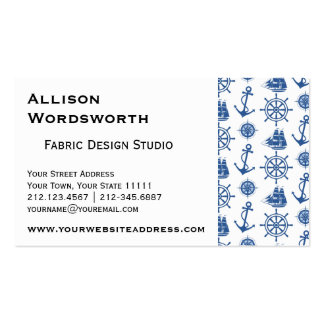 Nautical Theme Ships Anchor Blue and White Business Card