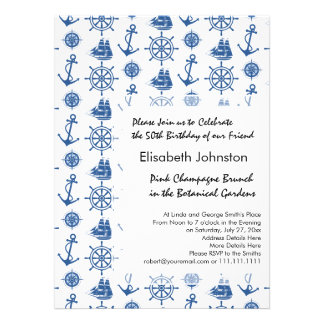 Nautical Theme Ships Anchor Blue and White Invite