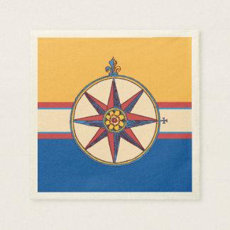 Nautical Theme Windrose Compass Vintage Marina Paper Napkin