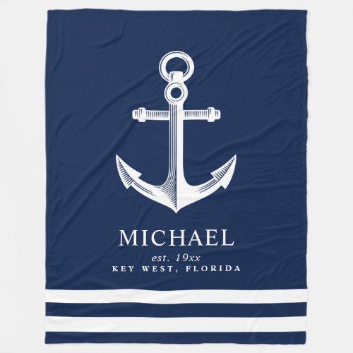 Nautical Themed Anchor  Custom Name Fleece Blanket