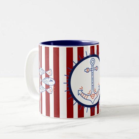 Nautical Themed Anchor Fish Sailing Blue Red White Two Tone Coffee Mug