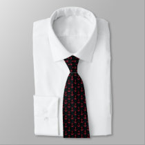 Nautical Themed Anchor Pattern in Black and Red Tie
