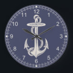 "Nautical Themed Anchor Wall Clock<br><div class=""desc"">Handsome nautical themed wall clock done in navy blue,  with vintage artwork of a ivory colored ship&#39;s anchor.  Ivory colored hour numbers and minutes runs around the outside edge.  Customize to add any text to this stylish clock.</div>"