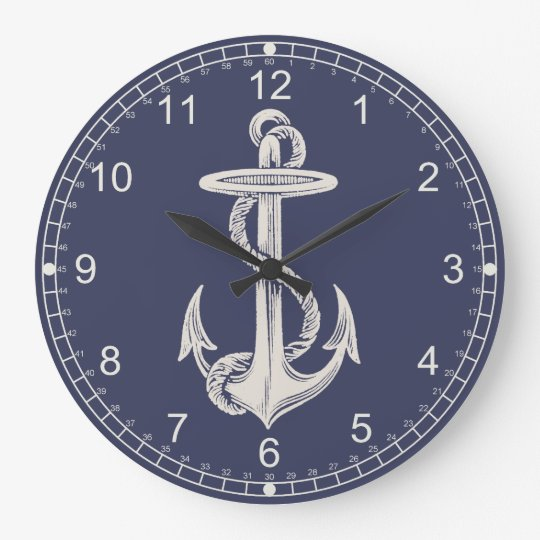 Nautical Themed Anchor Wall Clock Zazzle Com